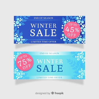 Flache winterschlussverkauf-banner