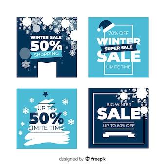 Flache winterschlussverkauf-karten eingestellt