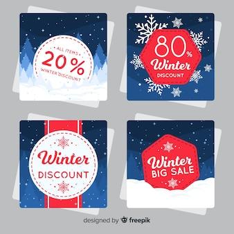 Flache winterschlussverkaufkarten eingestellt