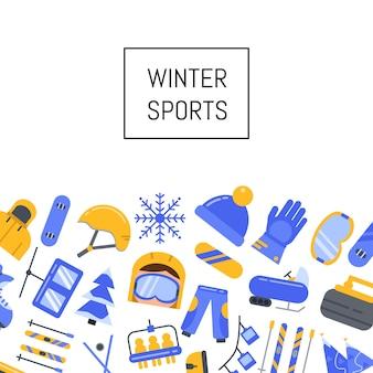 Flache wintersportausrüstung und attribute