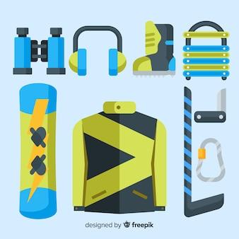 Flache wintersportausrüstung