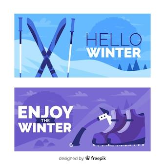 Flache wintersportfahne