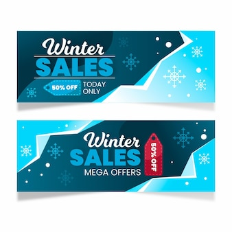 Flache winterverkauf horizontale bannersammlung