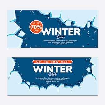 Flache winterverkaufsbanner