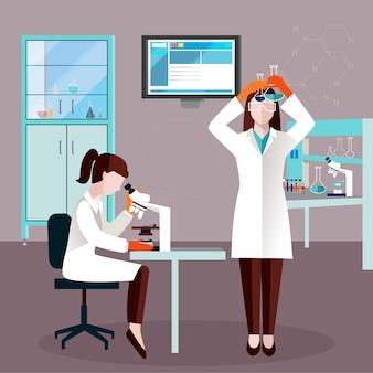 Flache wissenschaftler-leute-zusammensetzung