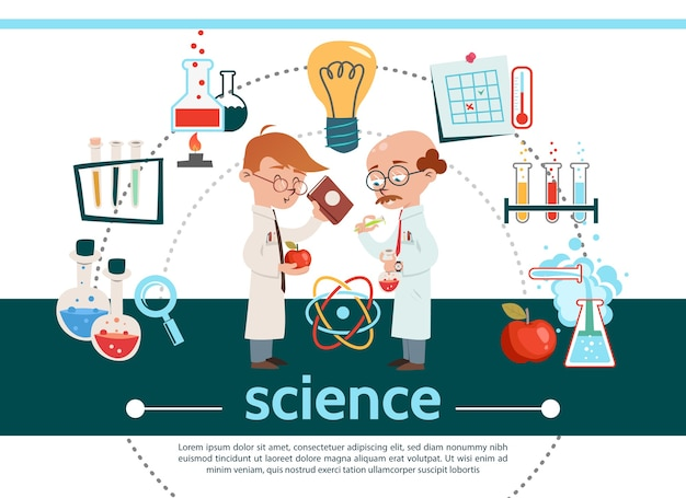 Flache wissenschaftliche komposition