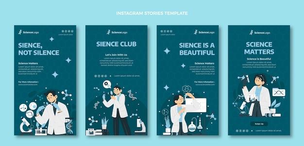 Flache wissenschafts-instagram-geschichten Kostenlosen Vektoren