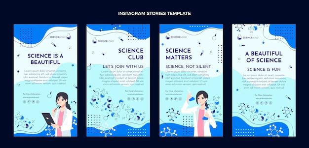 Flache wissenschafts-instagram-geschichten