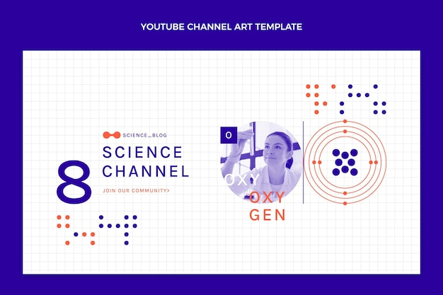 Flache wissenschafts-youtube-kanalkunst