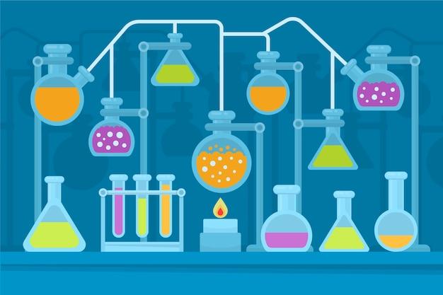 Flache wissenschaftslabor chemie glaswaren und flammen