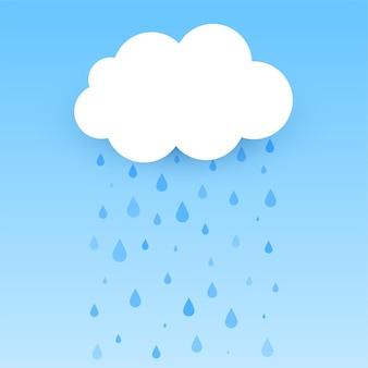 Flache wolke mit fallendem regenhintergrund