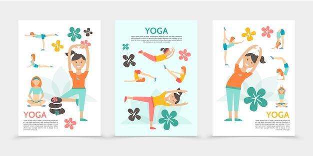 Flache yoga und harmonieplakate mit mädchen, die in verschiedenen posen lotusblumen spa steine isolierte illustration ausüben und meditieren