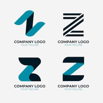 Flache z-buchstaben-logo-sammlung