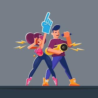 Flache zeichen. animatoren mit professionellen werkzeugen in einer natürlichen epischen pose. jubeln sie den führungskräften bei ihrer freiwilligenarbeit im sommer und frühling oder ihrer ersten arbeit für junge menschen zu.