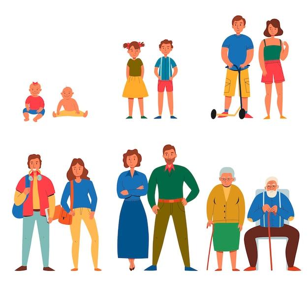 Flache zeichen mit verschiedenen generationen von menschen isoliert