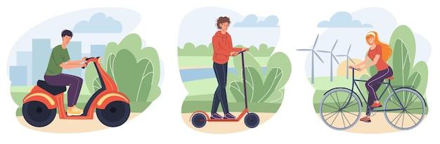 Flache zeichentrickfiguren auf modernen zweirädern - jungen und mädchen fahren auf roller und fahrrad. web-online-banner-design-set, modernes stadt-selbsttransportkonzept