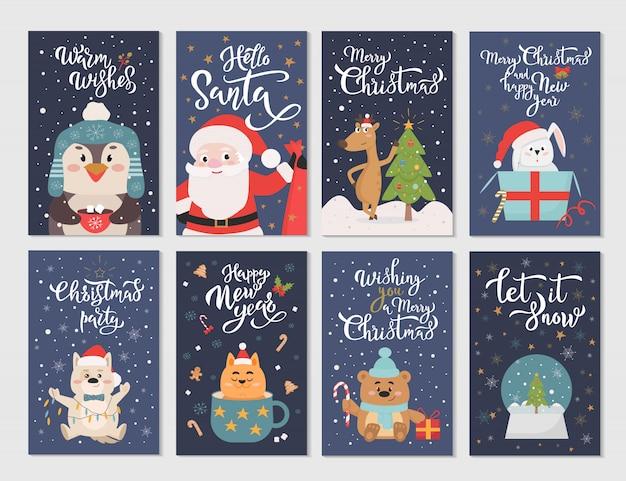 Flache zeichentrickfiguren der wintersaison postkarten gesetzt