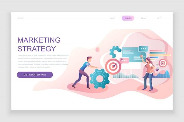 Flache zielseitenvorlage der marketingstrategie