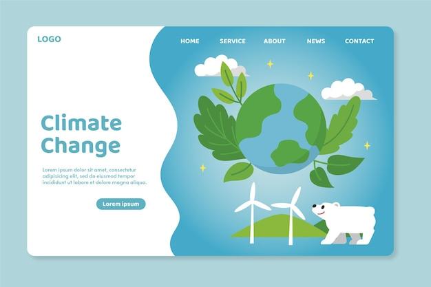Flache zielseitenvorlage für den klimawandel