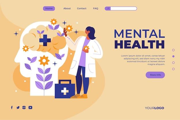 Flache zielseitenvorlage für psychische gesundheit
