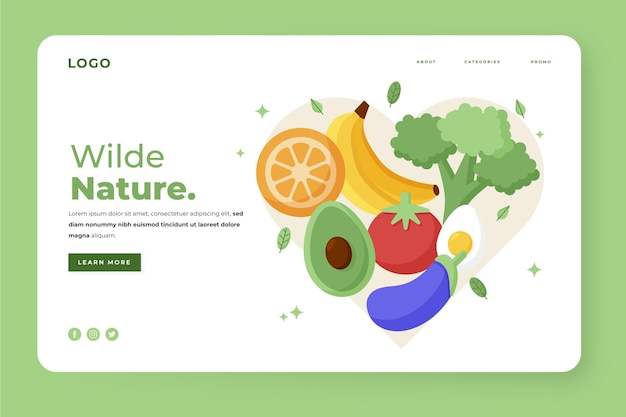 Flache zielseitenvorlage für vegetarisches essen