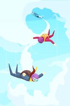 Flache zusammenfassung des skydiving-extremsport-abenteuers mit den teilnehmern, die vom stadium des freien falls des flugzeugs springen