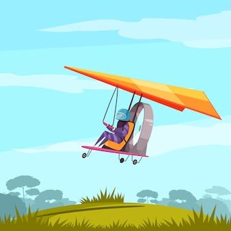 Flache zusammenfassung des skydiving-extremsport-abenteuers mit segelflugzeugpilotflug vor landungslandschaft
