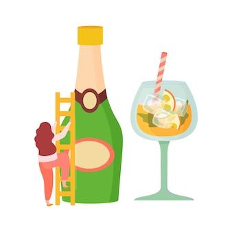 Flache zusammensetzung der alkoholischen getränkecocktails mit einer frau, die eine leiterflasche champagner und ein cocktailglas hält