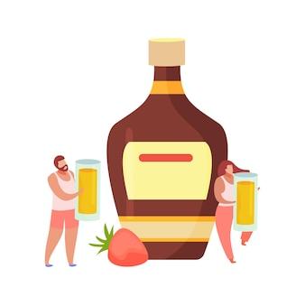 Flache zusammensetzung der alkoholischen getränkecocktails mit männlichen und weiblichen charakteren, die schnapsgläser halten