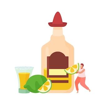 Flache zusammensetzung der alkoholischen getränkecocktails mit mann, der kalkscheiben und flasche hält Premium Vektoren