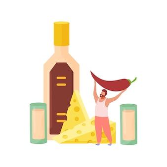 Flache zusammensetzung der alkoholischen getränkecocktails mit mann, der pfeffer und schnapsgläser mit käse hält