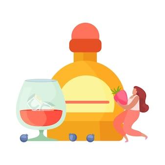 Flache zusammensetzung der alkoholischen getränkecocktails mit weiblicher figur, die erdbeerflasche und glas hält