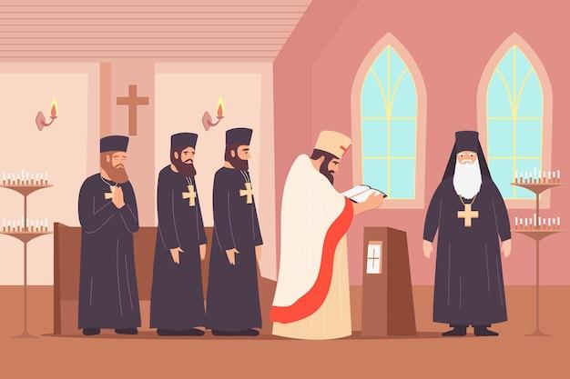 Flache zusammensetzung der christentumsreligion mit innenlandschaft der kapelle mit klerikalen ordenscharakteren, die eine predigtillustration predigen