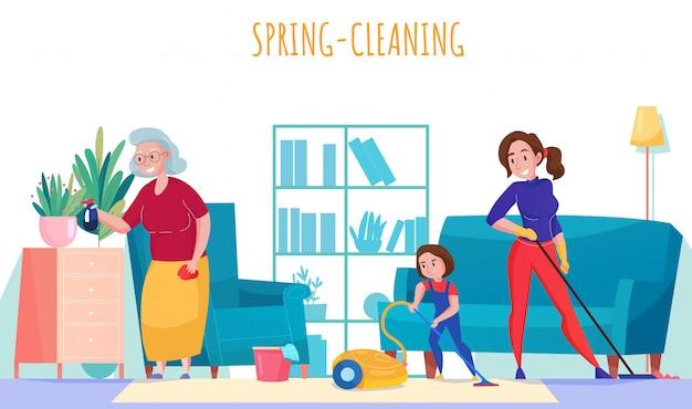 Flache zusammensetzung der familienhaushaltsaufgaben mit der kleinen tochter der großmutter, die frühjahrsputzwohnzimmerillustration staub saugt