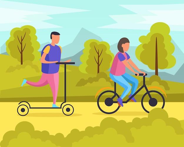 Flache zusammensetzung der faulen wochenenden mit mann und frau, die in der parkvektorillustration reiten