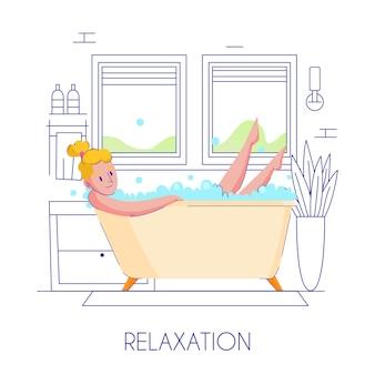 Flache zusammensetzung der frauenhygiene mit der jungen blonden dame, die im stilvollen umriss des badezimmers entspannt