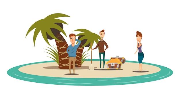 Flache zusammensetzung der glücklichen situationen der kreisinsellandschaft mit palmenschatzkasten und drei menschlichen charakteren vector illustration
