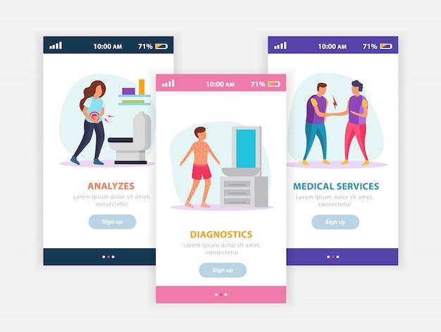Flache zusammensetzung der medizinischen dienstleistungen mit beweglicher app auf den smartphoneschirmen, die gesundheitswesenfunktionen im medizinischen diagnosezentrum darstellen