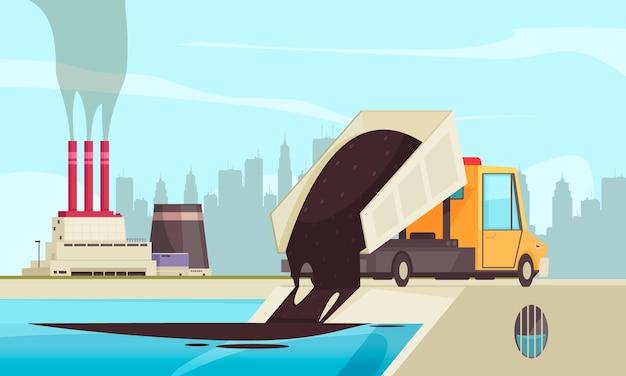 Flache zusammensetzung der naturwasserverschmutzung mit blick auf fabrikgebäude und lkw, die abfall ins wasser verschütten