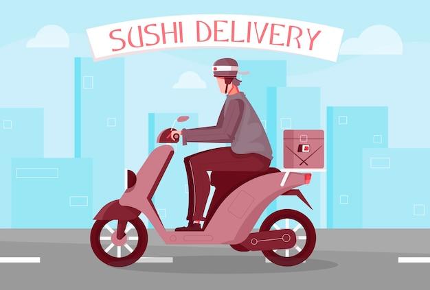 Flache zusammensetzung der sushi-lieferung mit text und ansicht der autobahn mit dem auslieferungsjungen, der motorrad fährt