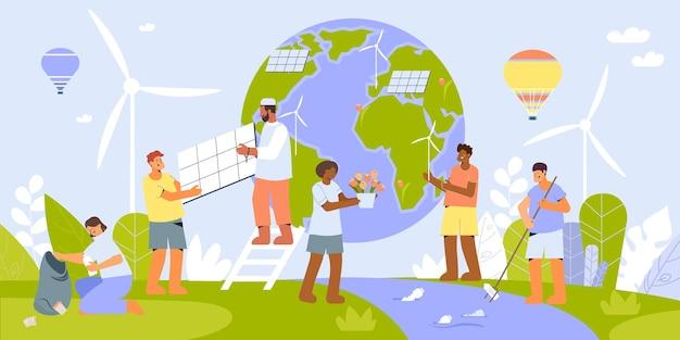 Flache zusammensetzung der umweltschutzleute mit windkraftanlagen und solarbatterien