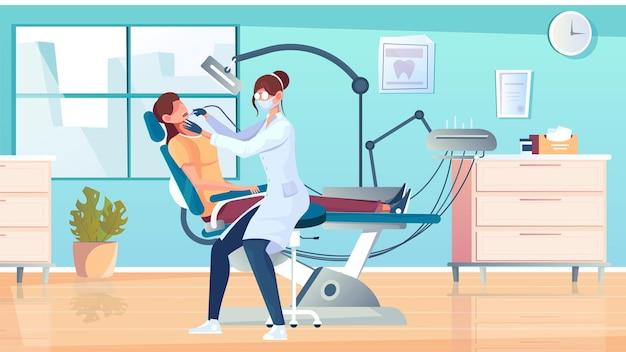 Flache zusammensetzung der zahnfüllung mit blick auf das büro des zahnarztes mit patient auf stuhl und zahnarztillustration