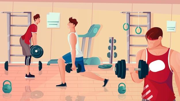 Flache zusammensetzung des bodybuilding-fitnessstudios mit blick auf fitnessgeräte und muskulöse männer, die gewichtheben übungen durchführen