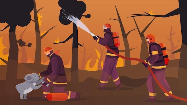 Flache zusammensetzung des feuerwehrwaldes mit außenlandschaft von brennenden waldbäumen mit mannschaft von feuerwehrleuten illustration