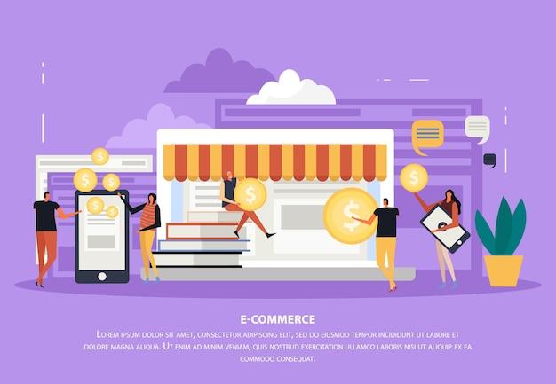 Flache zusammensetzung des freiberuflich tätigen e-commerce-konzeptes mit editierbarem text und laptop- und bildschirmgeräten