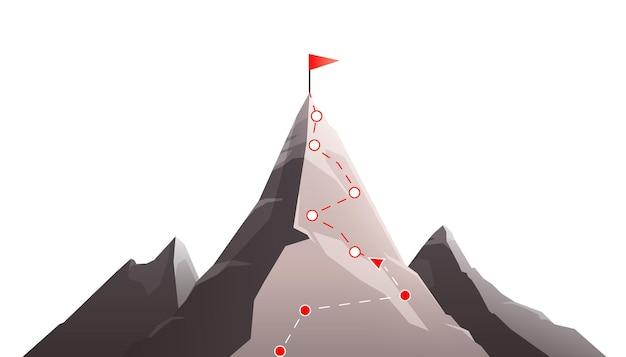 Flache zusammensetzung des gebirgszielerreichungskonzepts mit bild der berg- und gestrichelten linie route mit flagge
