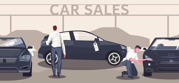 Flache zusammensetzung des gebrauchtwagenmarktes aus bearbeitbaren textautosilhouetten und verschiedenen modellen mit abbildung der käufercharaktere