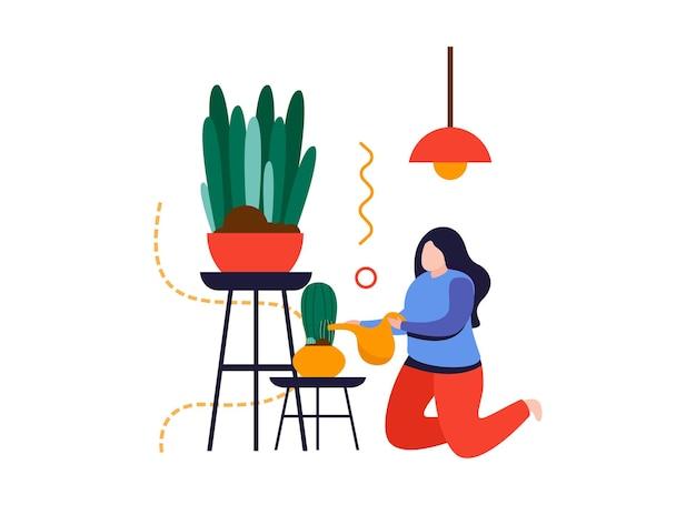 Flache zusammensetzung des hausgartens mit dem charakter der frau, die kaktus in der topfvektorillustration gießt
