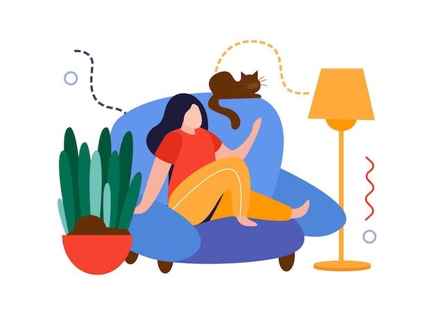 Flache zusammensetzung des hausgartens mit dem mädchen, das auf sofa mit der vektorillustration der katze und der hauspflanze sitzt