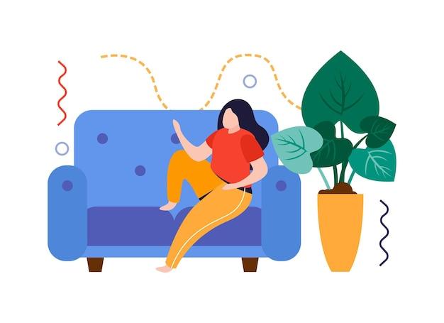 Flache zusammensetzung des hausgartens mit entspannender frau auf sofa mit heimpflanzenvektorillustration